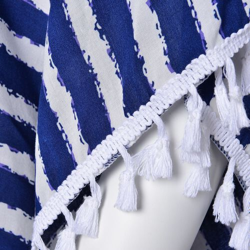 Navy and White Colour Stripes Pattern Poncho with Tassels (Size 70X65 Cm)