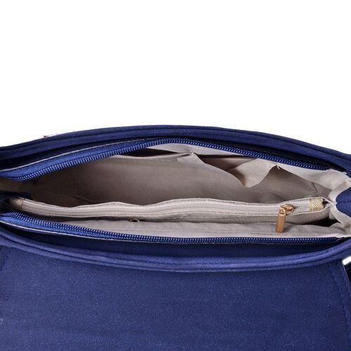 Navy Blue City Shoulder Bag with Light Blue Colour Long Tassels (Size 28x19x9 Cm)