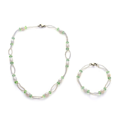 Fresh Water White Pearl, Green and White Glass Necklace (Size 18) and Bracelet (Size 7.5) in Stainless Steel