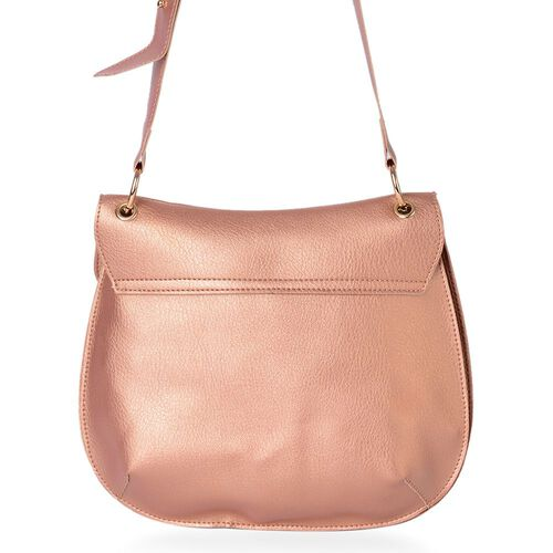 Rose Gold Colour Crossbody Bag with Adjustable Shoulder Strap (Size 29X25 Cm)