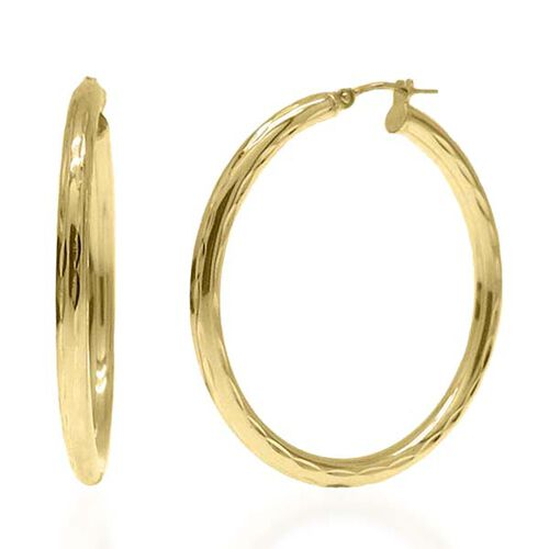 Limited Edition- Vicenza Collection- 9K Yellow Gold Diamond Cut Hoop Earrings (with Clasp) Gold Wt 2.70 Grams