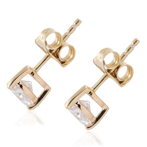 J Francis - 9K Yellow Gold (Hrt) Stud Earrings (with Push Back) Made with SWAROVSKI ZIRCONIA