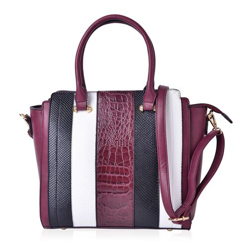 Wine, White and Multi Colour Stripes Pattern Tote Bag with External Zipper Pocket and Adjustable and Removable Shoulder Strap (Size 37X29X28X12 Cm)