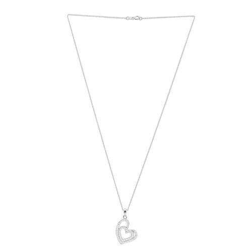 ELANZA AAA Simulated Diamond (Rnd) Heart Pendant with Chain in Rhodium Plated Sterling Silver