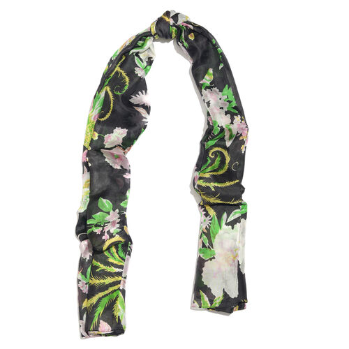 100% Mulberry Silk Black, Green and Multi Colour Handscreen Floral and Leaves Printed Scarf (Size 180X100 Cm)