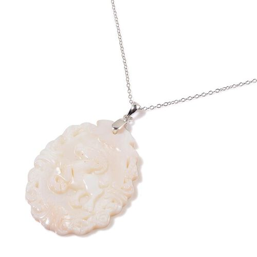 White Shell ZODIAC Aries Pendant With Chain in Sterling Silver