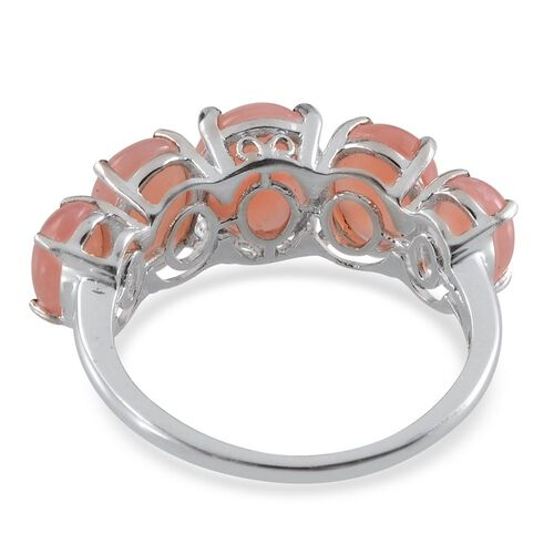 Peruvian Pink Opal (Ovl 1.15 Ct) 5 Stone Ring in Platinum Overlay Sterling Silver 4.400 Ct.