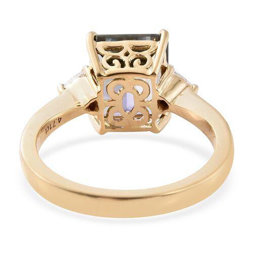 ILIANA 18K Yellow Gold AAA Peacock Tanzanite Ring (Oct 4.71 Ct), Diamond (SI/G-H) Ring 4.900 Ct.