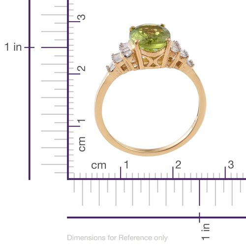 Rare Size Hebei Peridot (Ovl10x8), Diamond Ballerina Ring in 14K Gold Overlay Sterling Silver 3.150 Ct.