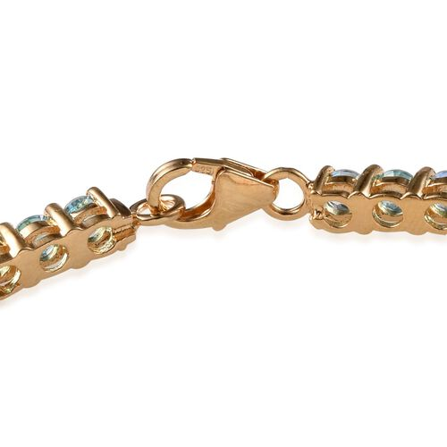 Signity Paraiba Topaz (Rnd) Bracelet in 14K Gold Overlay Sterling Silver (Size 7) 7.000 Ct.