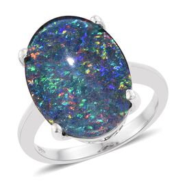 Limited Edition- Rare Size AAA Australian Boulder Opal (Oval 18x13 mm) Ring in Platinum Overlay Sterling Silver 6.750 Ct.
