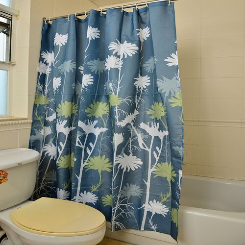 Multi Colour Floral Pattern Dark Teal Colour Waterproof Shower Curtain with 12 Hooks (Size 180X180 Cm)