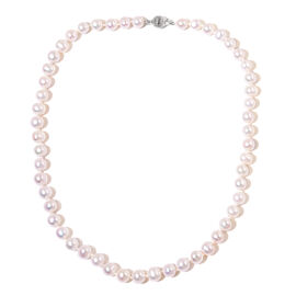Fresh Water Pearl (8-9mm) Necklace in Rhodium Plated Sterling Silver 18 Inch