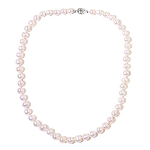 Fresh Water Pearl (8-9mm) Necklace in Rhodium Plated Silver 18 Inch