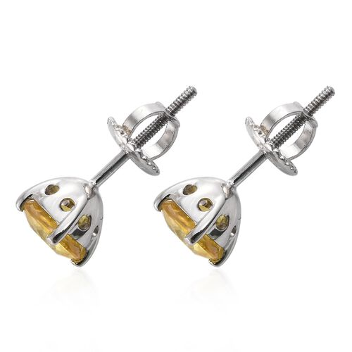 RHAPSODY 950 Platinum 2.20 Ct AAAA Chanthaburi Yellow Sapphire Solitaire Stud Earrings (with Screw Back)