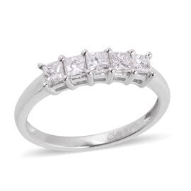RHAPSODY 950 Platinum 0.50 Ct Diamond (Princess Cut) 5 Stone Ring IGI Certified (VS/F)