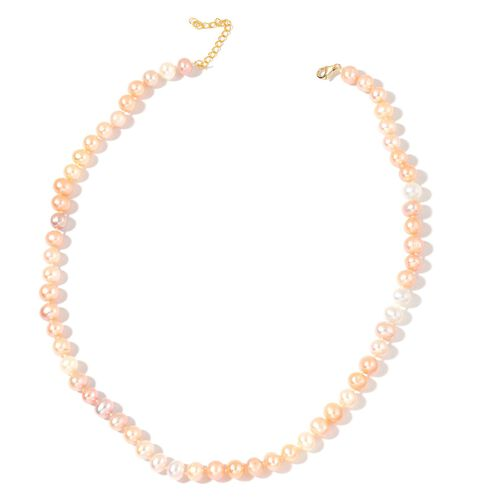 9K Yellow Gold AAA Fresh Water Multi Colour Pearl Necklace (Size 18)