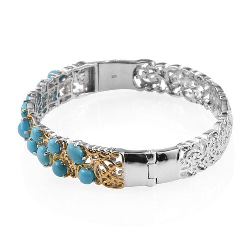 Arizona Sleeping Beauty Turquoise (Pear) Bangle (Size 7.5) in Platinum and Yellow Gold Overlay Sterling Silver 9.750 Ct.