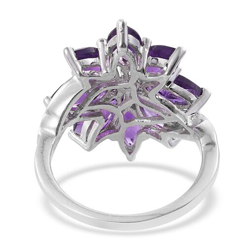 Amethyst (Mrq), White Topaz Floral Ring in Platinum Overlay Sterling Silver 4.000 Ct.