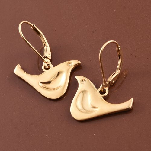 14K Gold Overlay Sterling Silver Birds Lever Back Earrings, Silver wt 4.57 Gms.