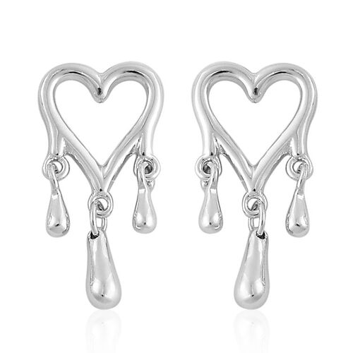 LucyQ Open Melting Heart Stud Earrings with 3 Drip (with Push Back) in Rhodium Plated Sterling Silver