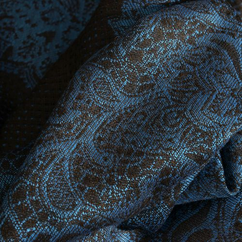 Blue and Black Colour Floral Pattern Scarf (Size 180x70 Cm)