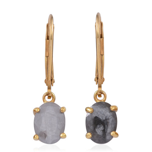 Natural Silver Sapphire (Ovl) Lever Back Earrings in 14K Gold Overlay Sterling Silver 4.000 Ct.