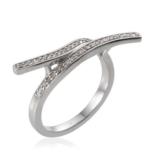 Diamond (Rnd) Woven Curve Ring in Platinum Overlay Sterling Silver 0.250 Ct.