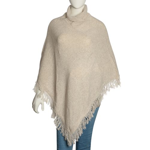 100% Australian Lamb Wool Cream Colour Knitted Poncho with Fringes (Free Size)