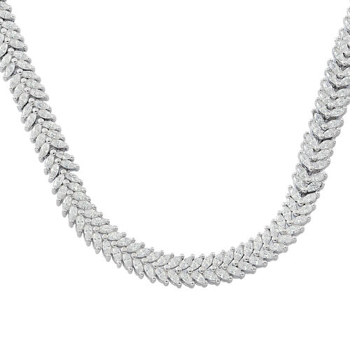 Designer Inspired-AAA Simulated White Diamond (Mrq) Necklace (Size 17) in Rhodium Plated Sterling Silver.Silver Wt 36.10 Gms