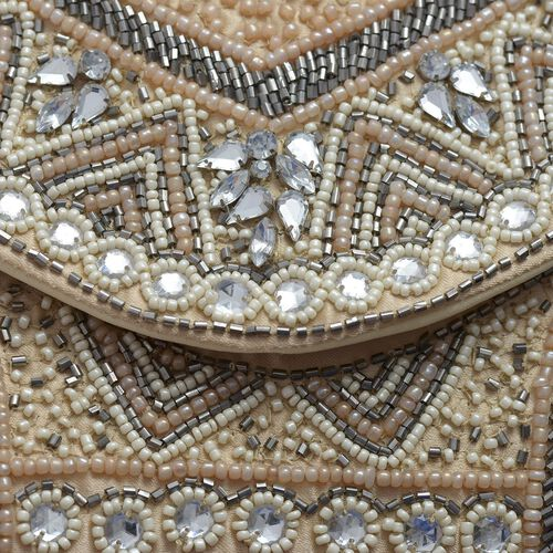 Beige, Cream and Multi Colour Beaded Clutch Bag (Size 25x15 Cm)