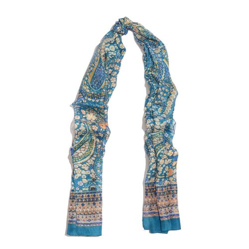 100% Mulberry Silk Turquoise and Multi Colour Paisley and Floral Pattern Scarf (Size 180x50 Cm)
