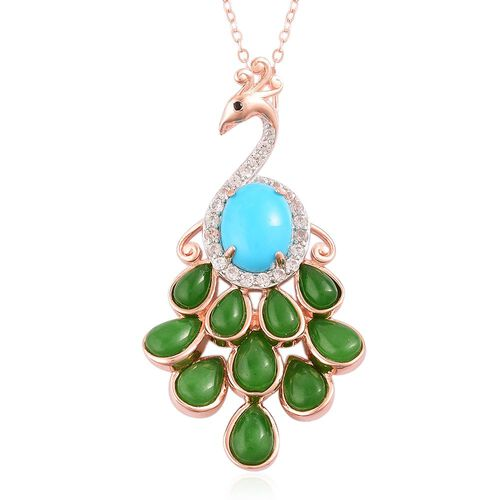 Arizona Sleeping Beauty Turquoise (Ovl 1.25 Ct), Green Jade, Boi Ploi Black Spinel and White Zircon Peacock Pendant with Chain in Rose Gold Overlay Sterling Silver 6.450 Ct.