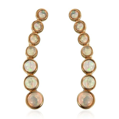 AA Ethiopian Welo Opal (Rnd) Climber Earrings in 14K Gold Overlay Sterling Silver 2.000 Ct.