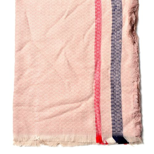 Light Pink, Navy and Red Colour Small Circle Pattern Scarf with Short Tassels (Size 180x80 Cm)