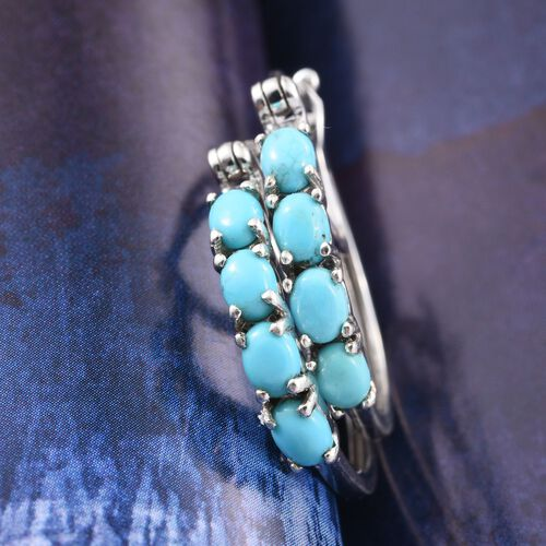 Arizona Sleeping Beauty Turquoise (Ovl) Hoop Earrings (with Clasp) in Platinum Overlay Sterling Silver 1.250 Ct.