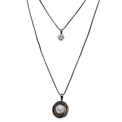 AAA Simulated White Diamond and Simulated Stone Necklace (Size 24) in Black Tone