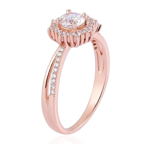 ELANZA AAA Simulated White Diamond Ring in Rose Gold Overlay Sterling Silver