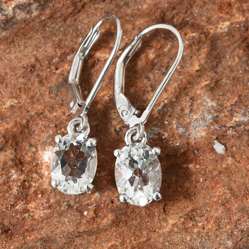 Petalite (Ovl) Lever Back Earrings in Platinum Overlay Sterling Silver 2.000 Ct.