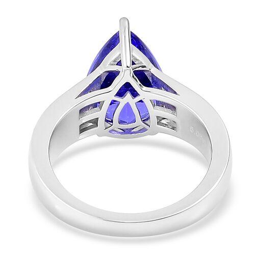 RHAPSODY 950 Platinum AAAA Tanzanite (Pear 5.00 Ct), Diamond (VS/E-F) Ring 5.250 Ct.