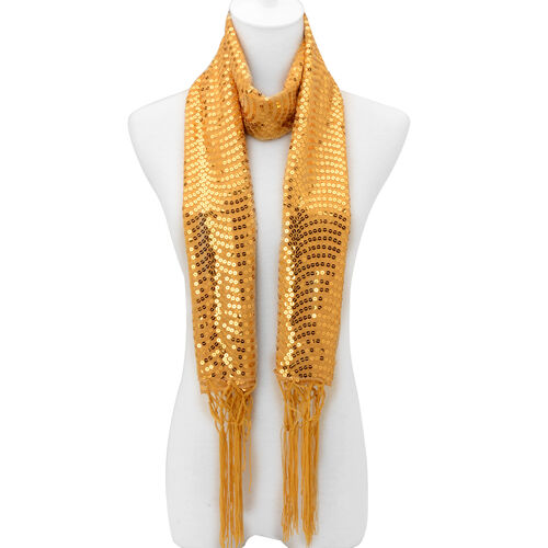 Yellow Colour Sequin Scarf (Size 50x160 Cm)