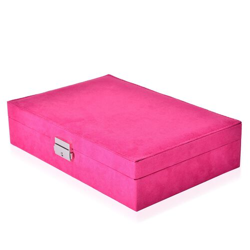 Multi Tier- Velvet Box with Removable Tray for Rings(70-80) and Earrings, Slot for Necklaces, Watches and Other Jewellery. (Size 28x19x6.5 Cm) - Pink