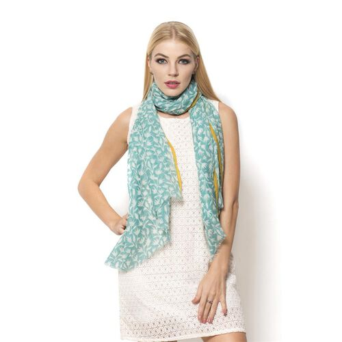 Designer Inspired 100% Wool  Turquoise and Yellow Colour Hand Block Printed Scarf (Size 190x75 Cm)