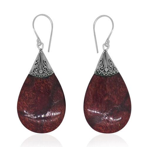 Royal Bali Collection Sponge Coral Drop Hook Earrings in Sterling Silver 22.000 Ct.