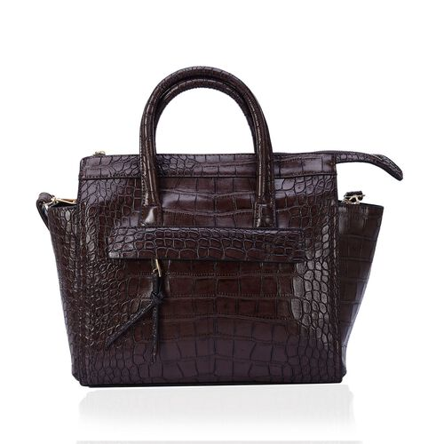 Christine Chocolate Croc Embossed Tote Bag with External Zipper Pocket and Adjustable and Removable Shoulder Strap (Size 42x30x9 Cm)