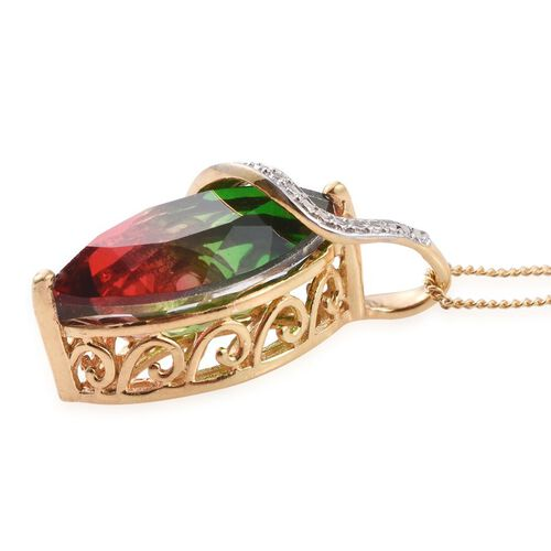 Bi-Color Tourmaline Quartz (Mrq) Solitaire Pendant With Chain in 14K Gold Overlay Sterling Silver 6.500 Ct.