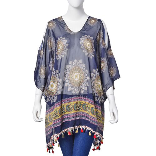 Navy, Yellow and Multi Colour Printed Poncho with Tassels (Free Size)
