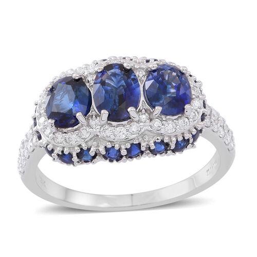 ILIANA 18K W Gold AAAA Ceylon Sapphire (Ovl 0.90 Ct), Diamond (SI/GH) Ring 4.150 Ct.