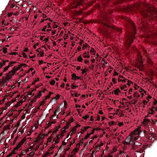 Designer Inspired - Wine Colour Leaf Pattern Velvet Wrap with Lace and Extra Long Tassels (Size 150X50 Cm)
