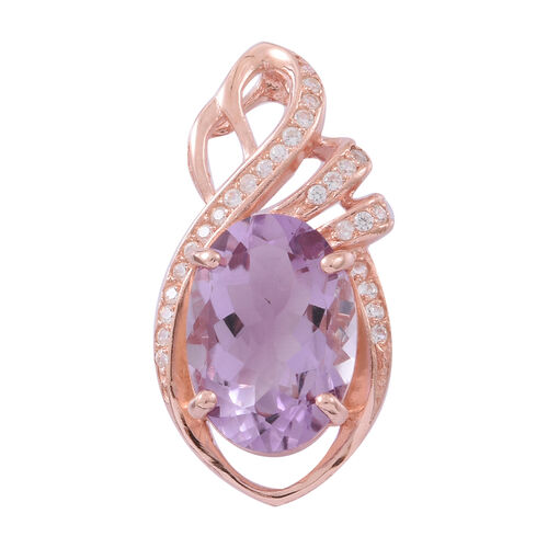 Rare Size Rose De France Amethyst (Ovl 18x13, 11.25 Ct), Natural White Cambodian Zircon Pendant in Rose Gold Overlay Sterling Silver 12.250 Ct.